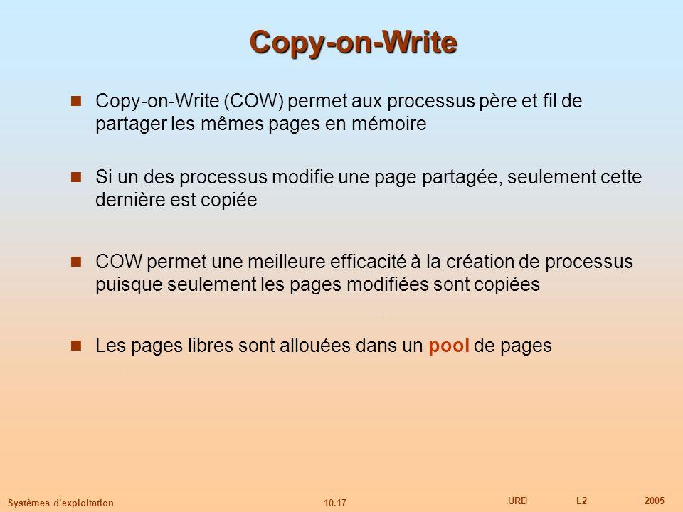 Copy-on-Write Copy-on-Write (COW) permet aux processus père et fil de partager les mêmes pages en mémoire.