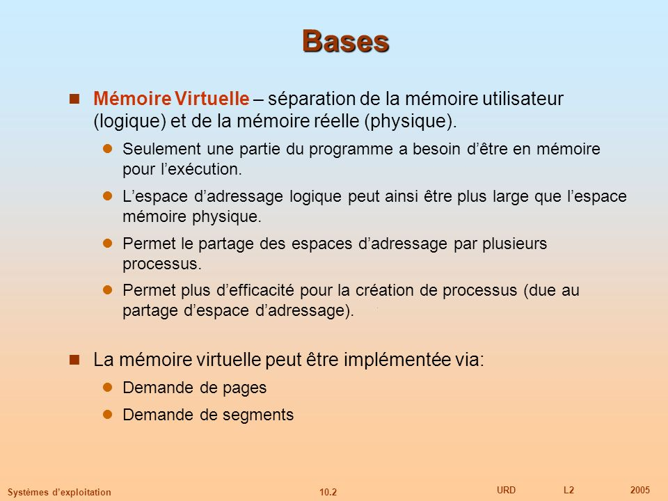 Bases Mémoire Virtuelle – séparation de la mémoire utilisateur (logique) et de la mémoire réelle (physique).