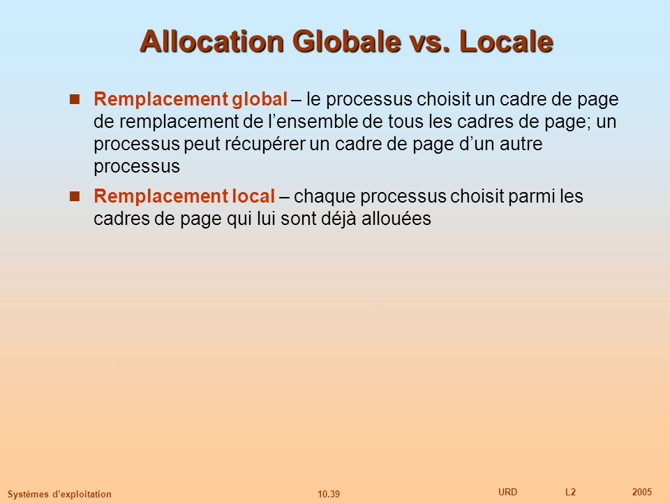 Allocation Globale vs. Locale