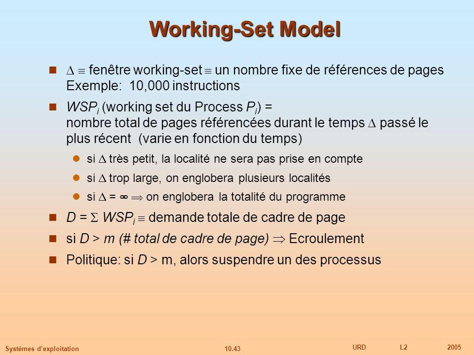 Working-Set Model  fenêtre working-set  un nombre fixe de références de pages Exemple: 10,000 instructions.