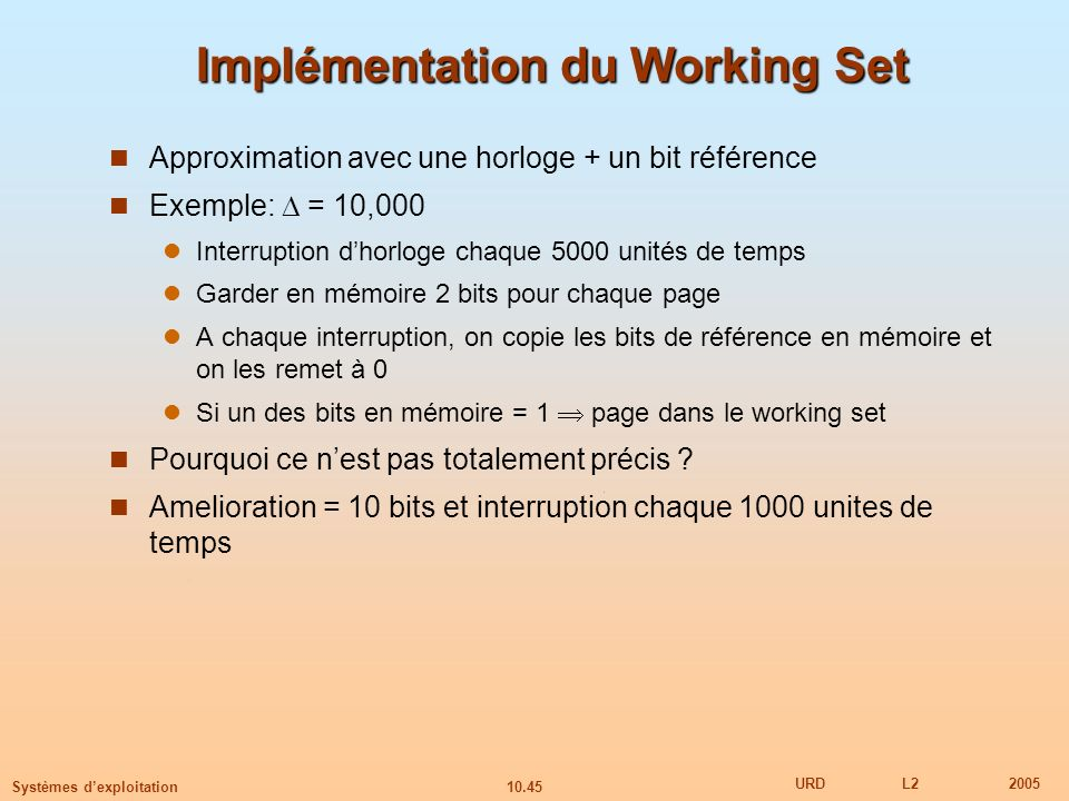 Implémentation du Working Set