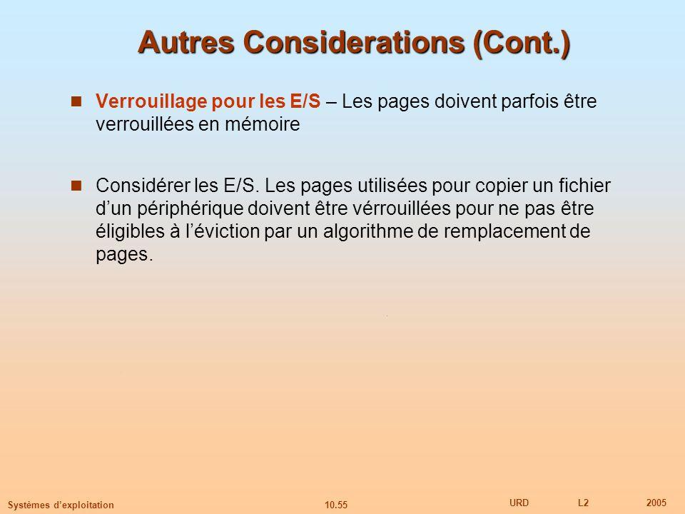 Autres Considerations (Cont.)