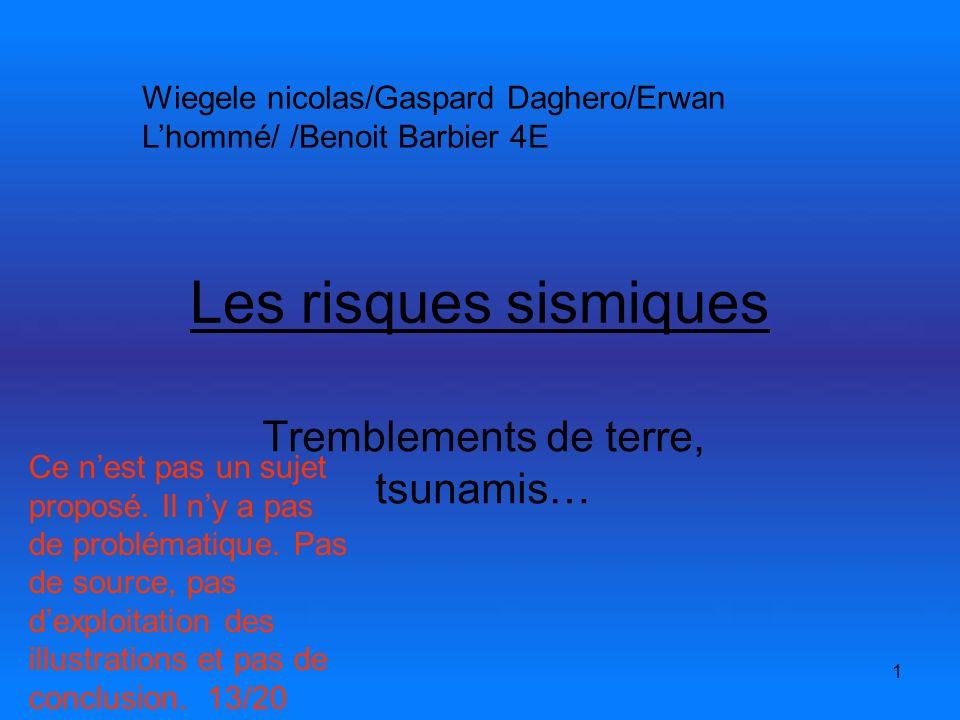 Nicolas WIEGELE/Gaspard DAGERO Tremblements de terre, tsunamis…