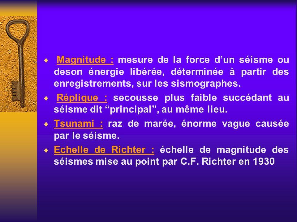 Magnitude : mesure de la force d'un séisme ou deson énergie libérée, déterminée à partir des enregistrements, sur les sismographes.