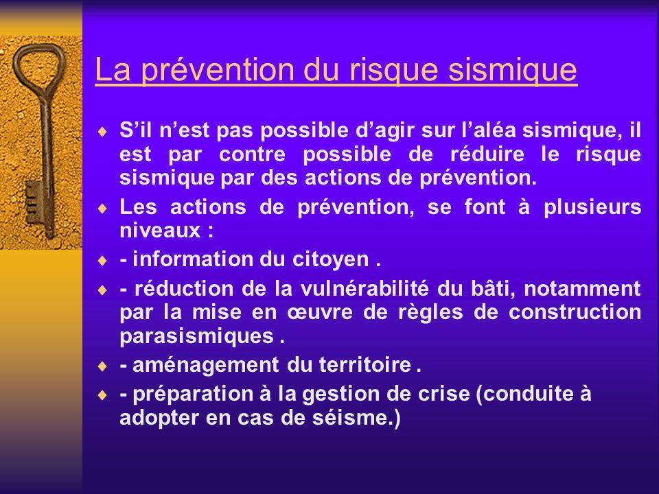 La prévention du risque sismique