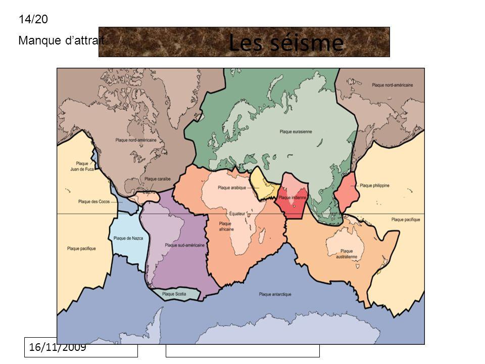 14/20 Manque d'attrait Les séisme 16/11/2009
