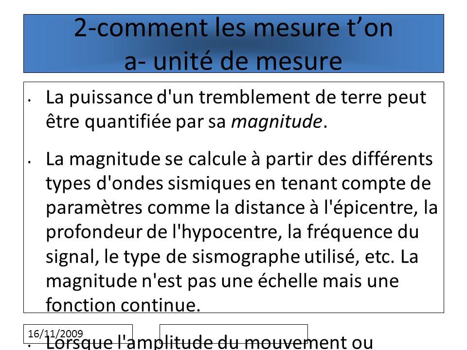 2-comment les mesure t'on a- unité de mesure