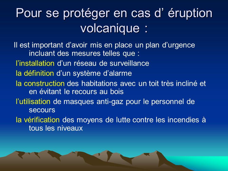 Pour se protéger en cas d' éruption volcanique :