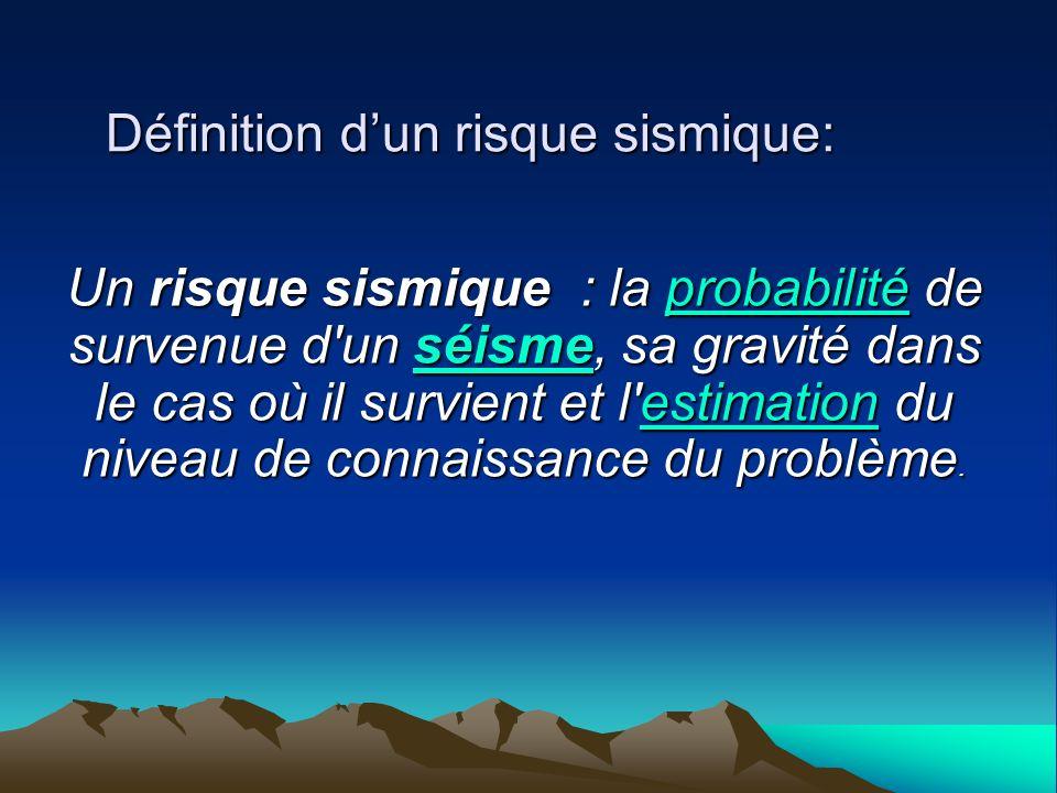 Définition d'un risque sismique: