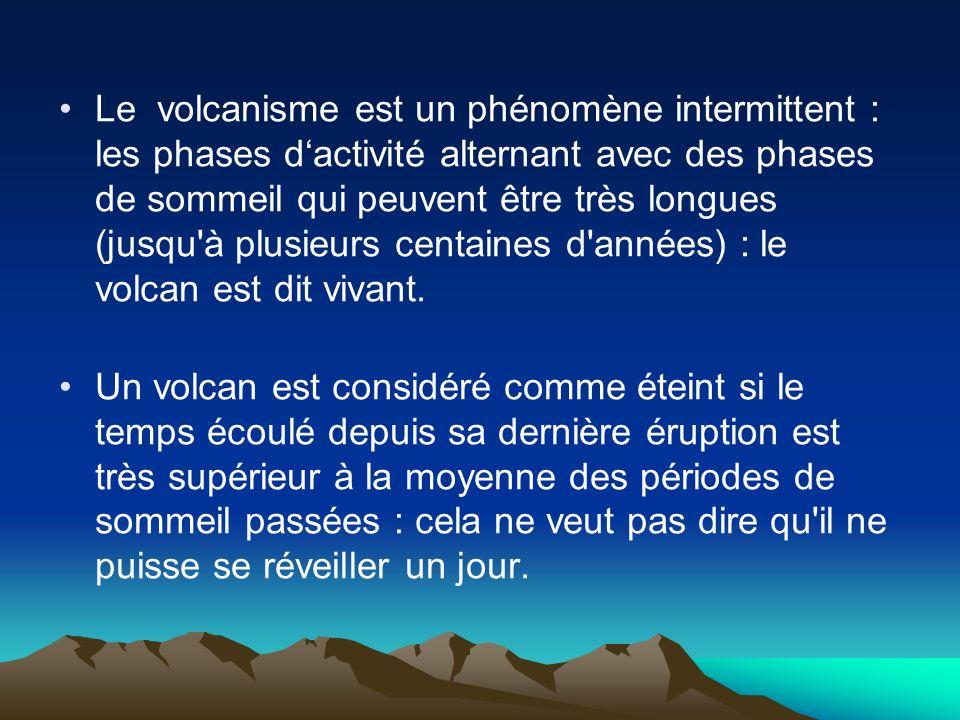 Le volcanisme est un phénomène intermittent : les phases d'activité alternant avec des phases de sommeil qui peuvent être très longues (jusqu à plusieurs centaines d années) : le volcan est dit vivant.