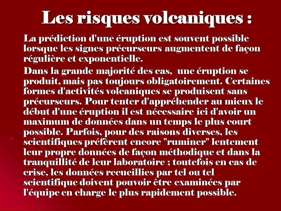 Les risques volcaniques :
