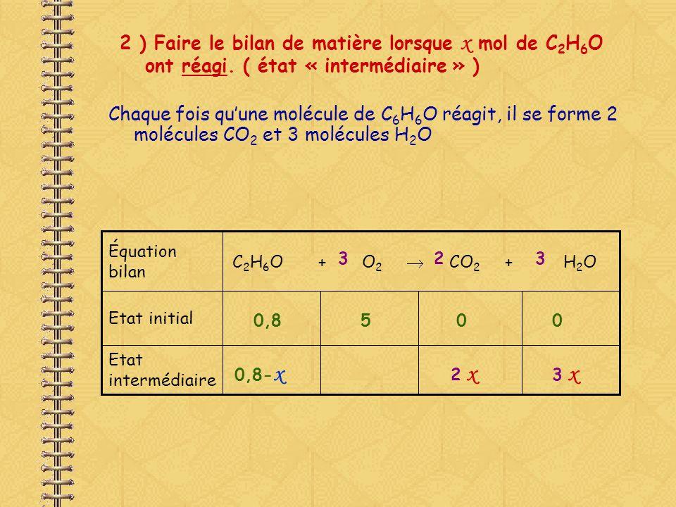 2 ) Faire le bilan de matière lorsque x mol de C2H6O ont réagi