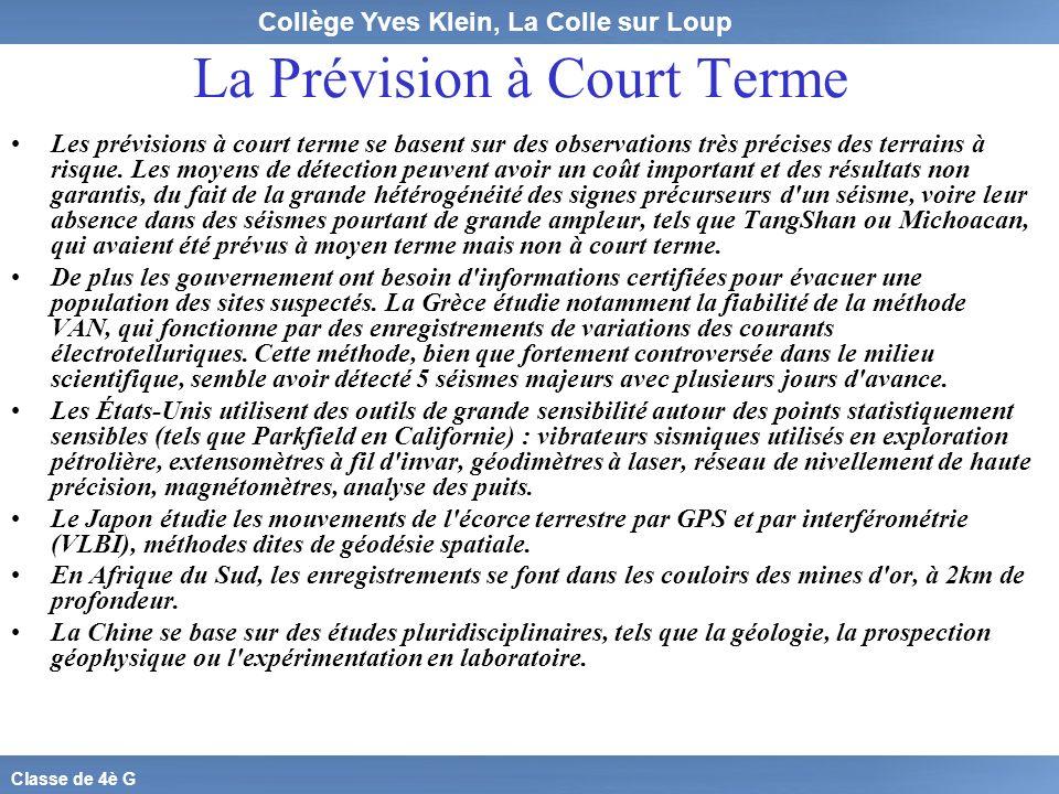 La Prévision à Court Terme