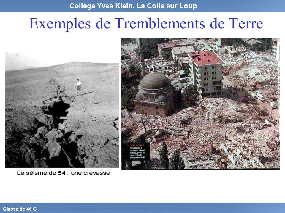 Exemples de Tremblements de Terre