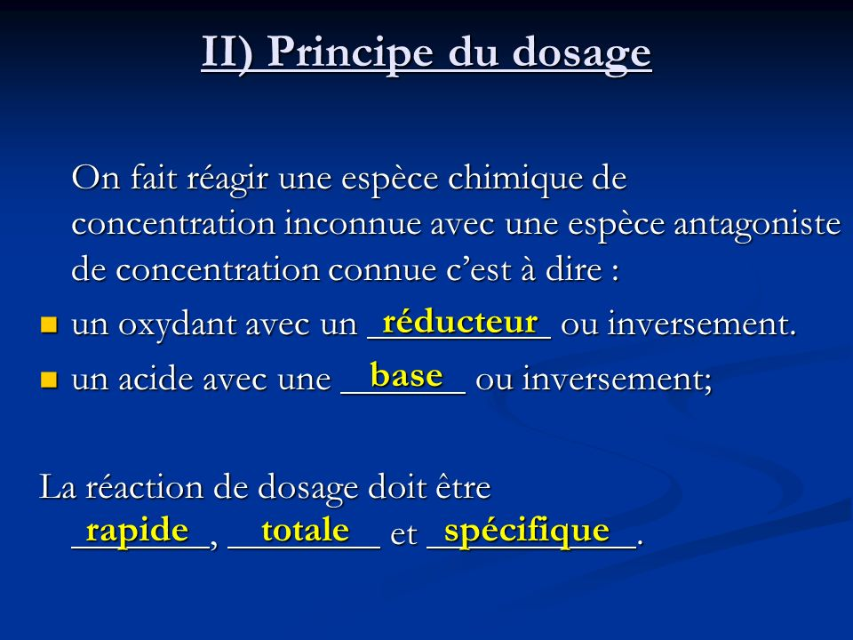 II) Principe du dosage