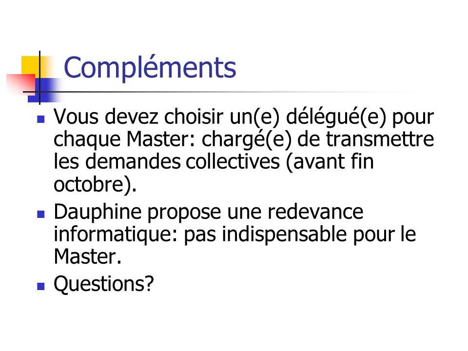 Compléments Vous devez choisir un(e) délégué(e) pour chaque Master: chargé(e) de transmettre les demandes collectives (avant fin octobre).