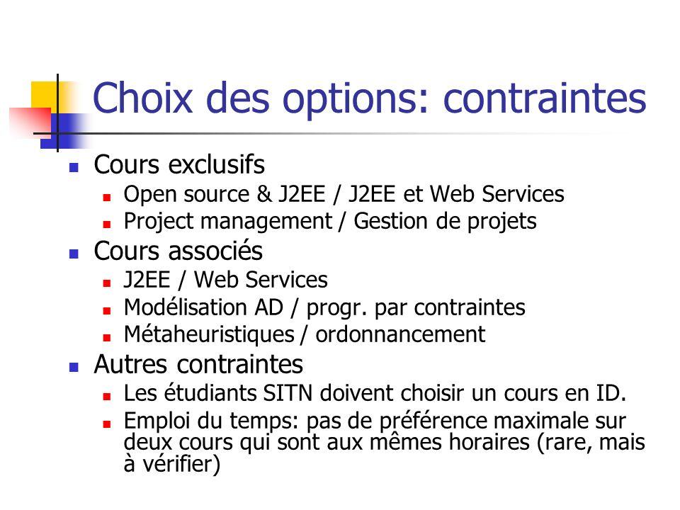 Choix des options: contraintes
