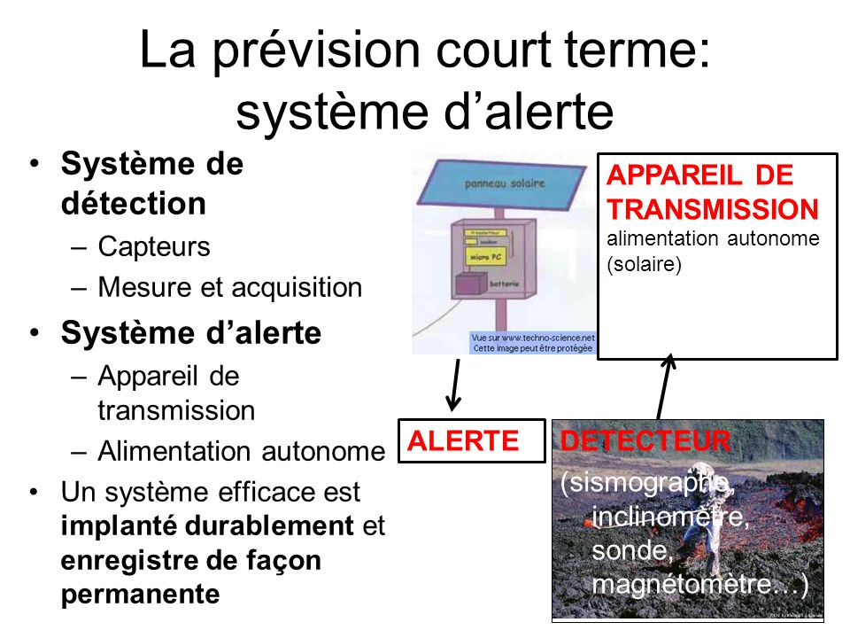 La prévision court terme: système d'alerte