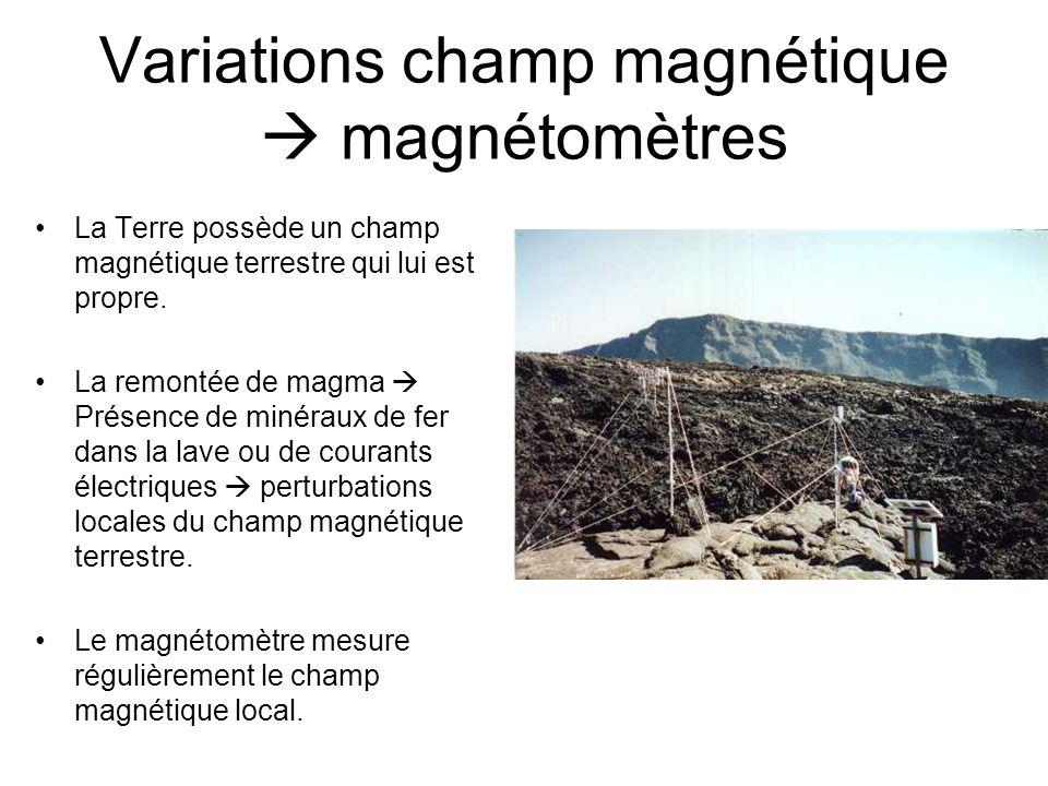 Variations champ magnétique  magnétomètres