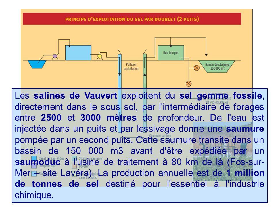 Les salines de Vauvert exploitent du sel gemme fossile, directement dans le sous sol, par l intermédiaire de forages entre 2500 et 3000 mètres de profondeur.