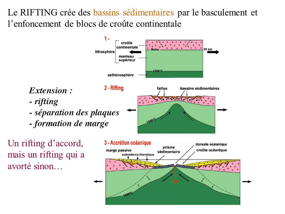 Le RIFTING crée des bassins sédimentaires par le basculement et l'enfoncement de blocs de croûte continentale