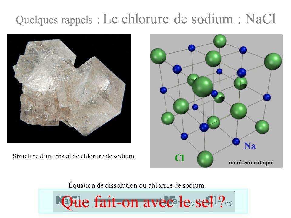 Quelques rappels : Le chlorure de sodium : NaCl