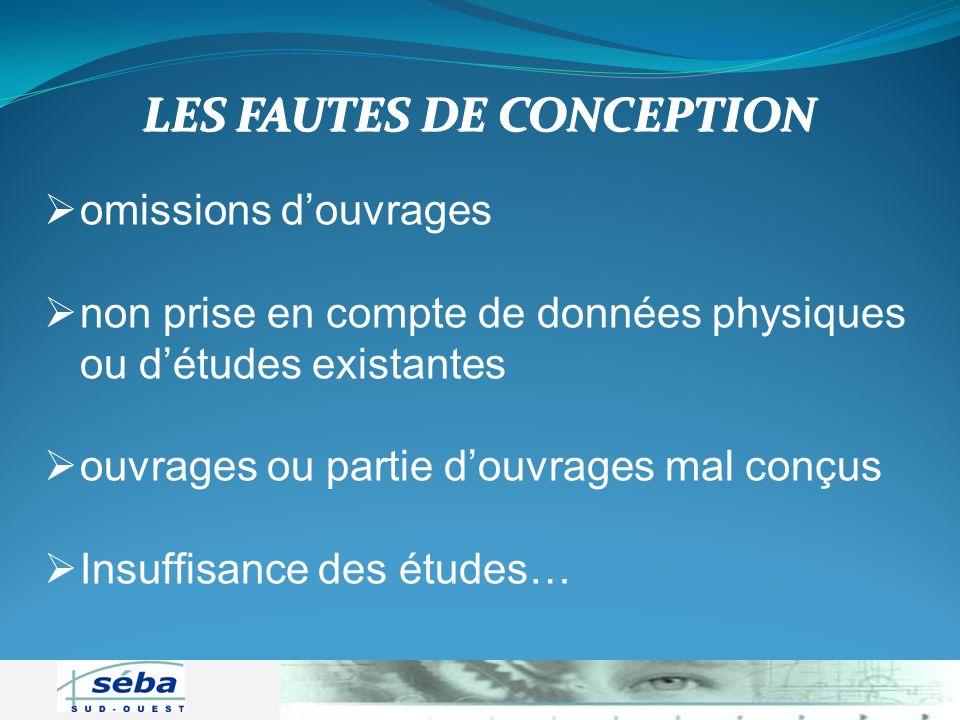 LES FAUTES DE CONCEPTION