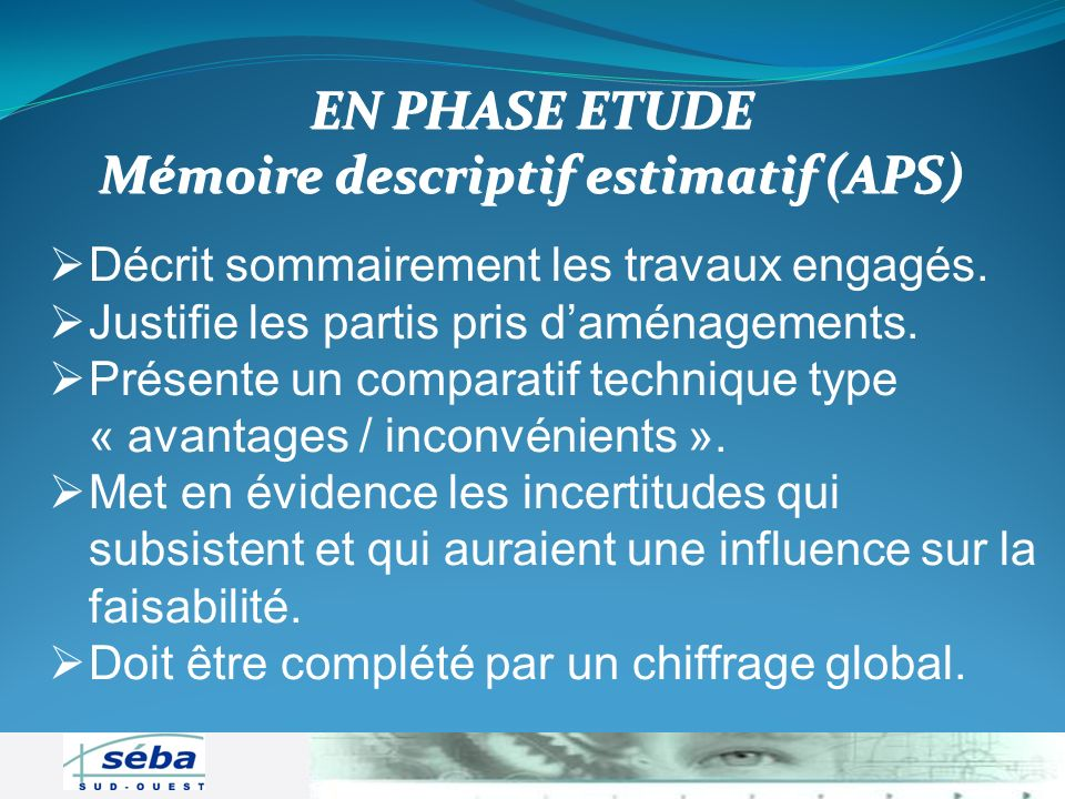 Mémoire descriptif estimatif (APS)