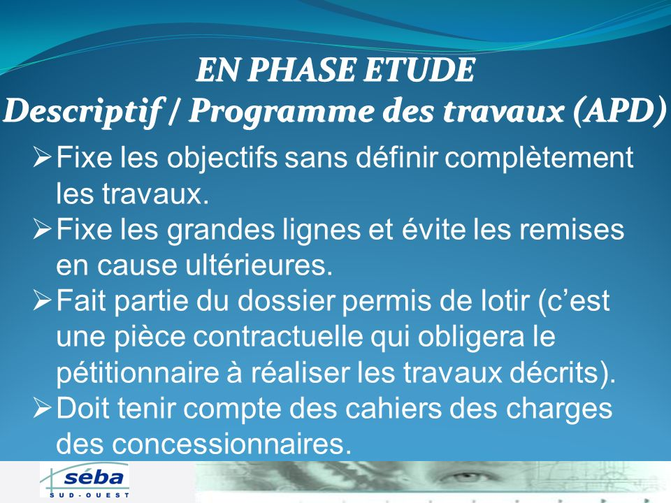Descriptif / Programme des travaux (APD)