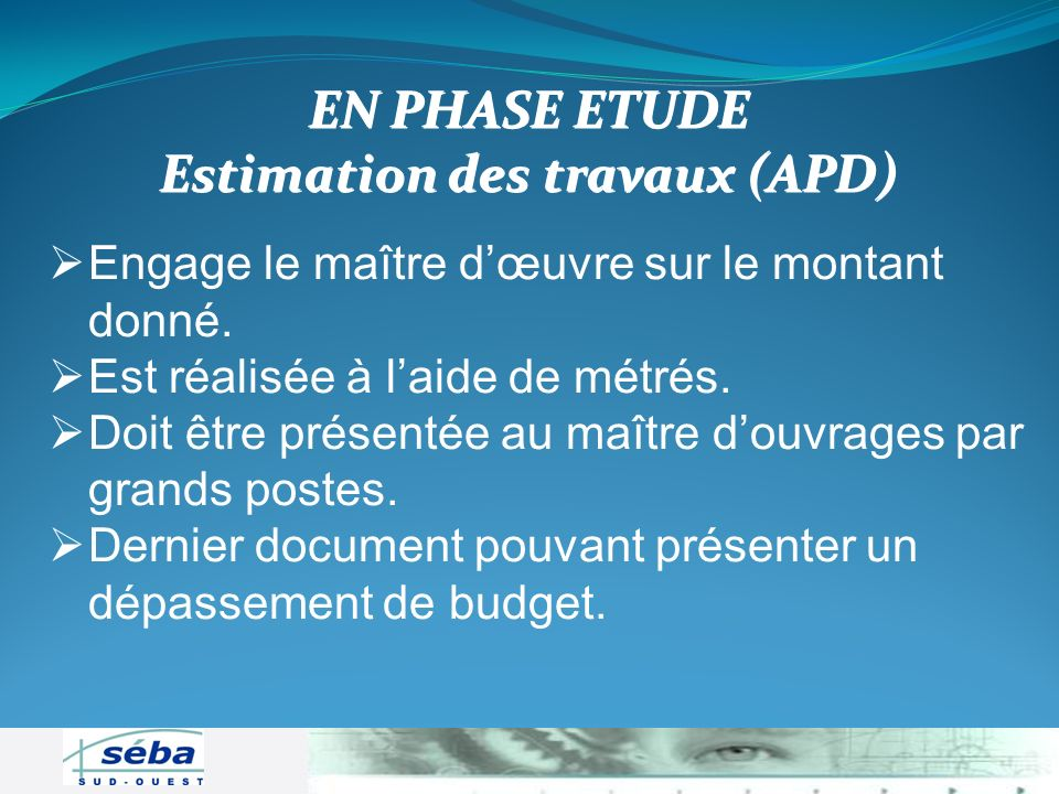 Estimation des travaux (APD)