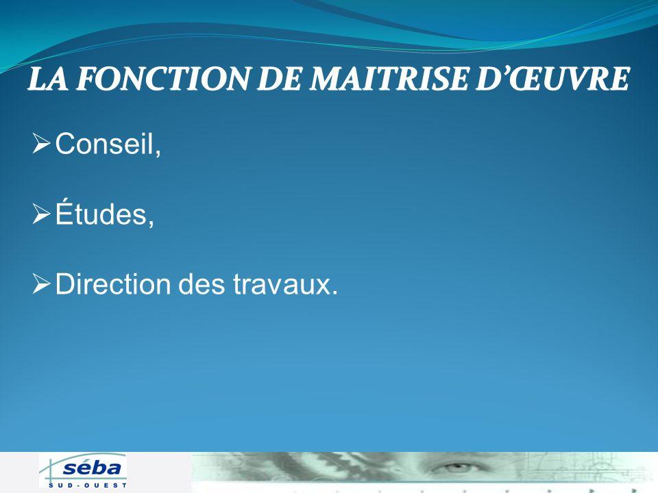 LA FONCTION DE MAITRISE D'ŒUVRE