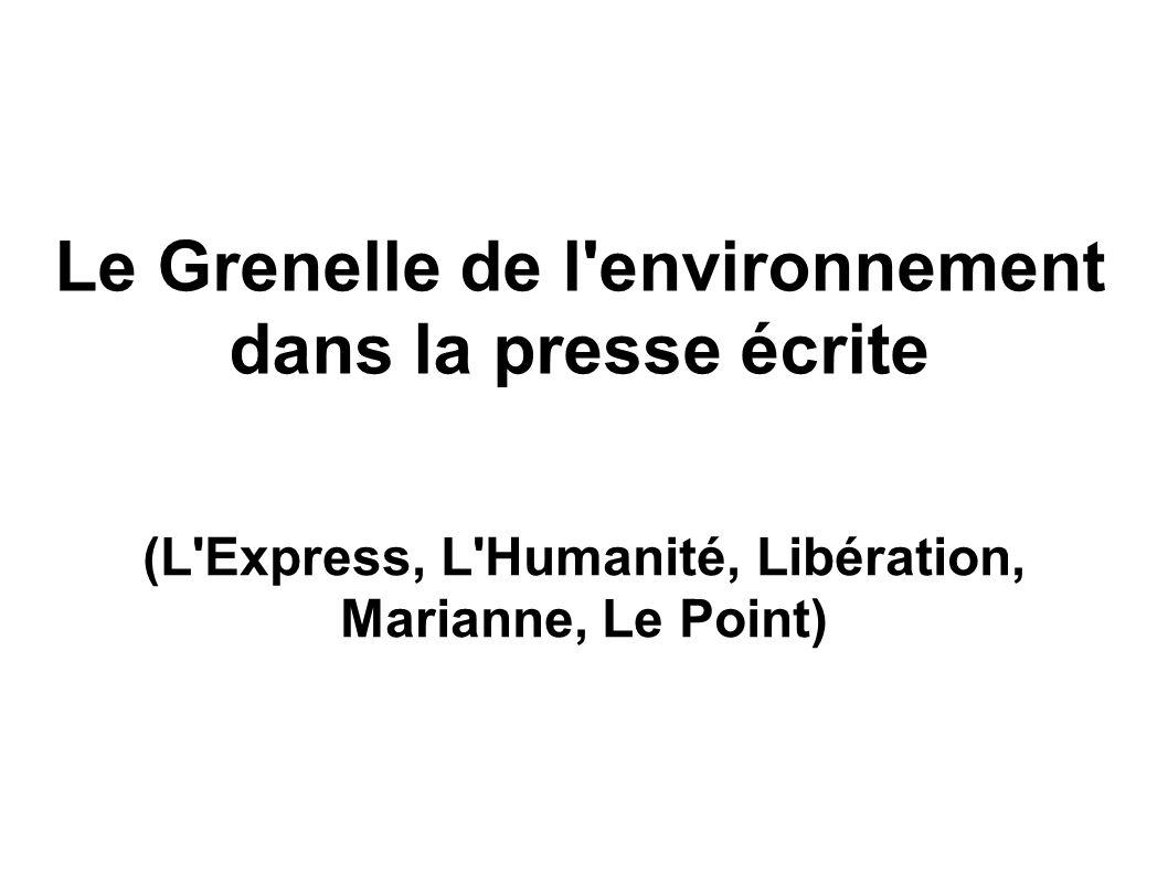 Le Grenelle de l environnement dans la presse écrite