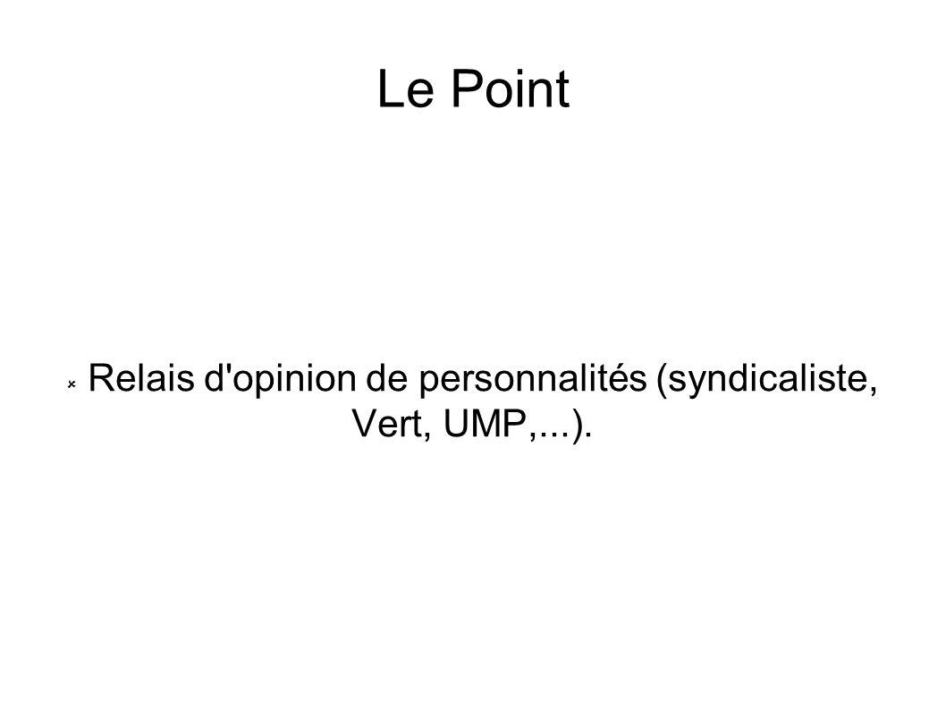 Relais d opinion de personnalités (syndicaliste, Vert, UMP,...).