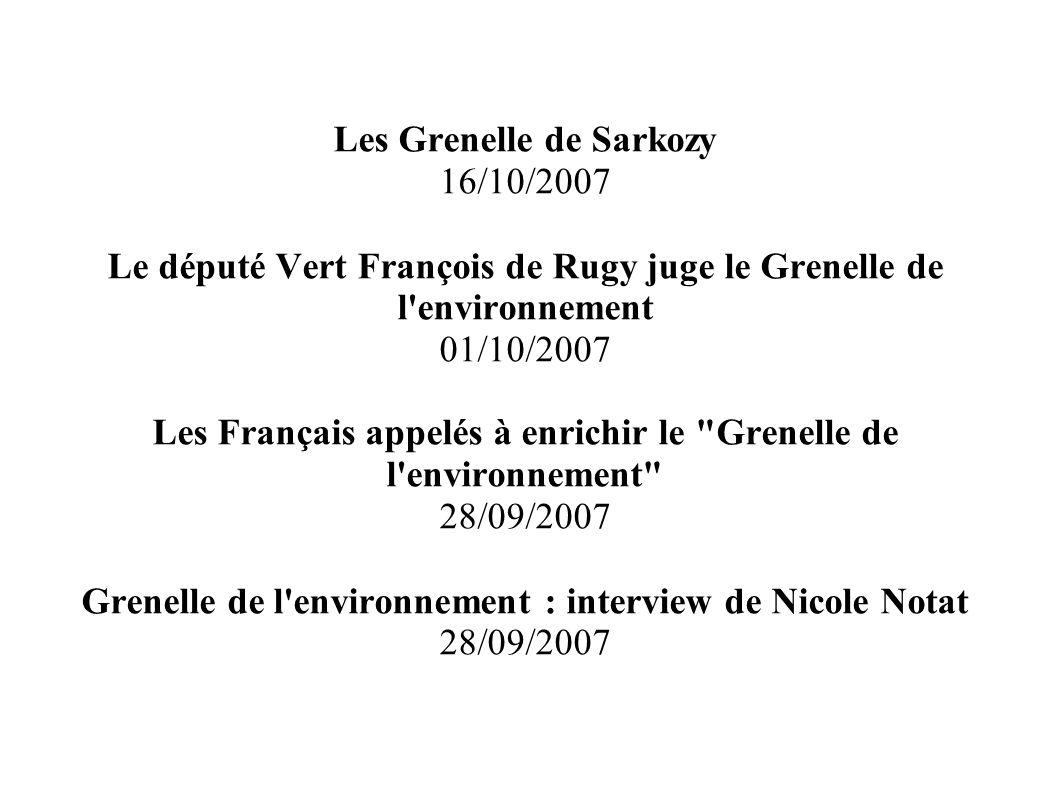 Les Grenelle de Sarkozy 16/10/2007