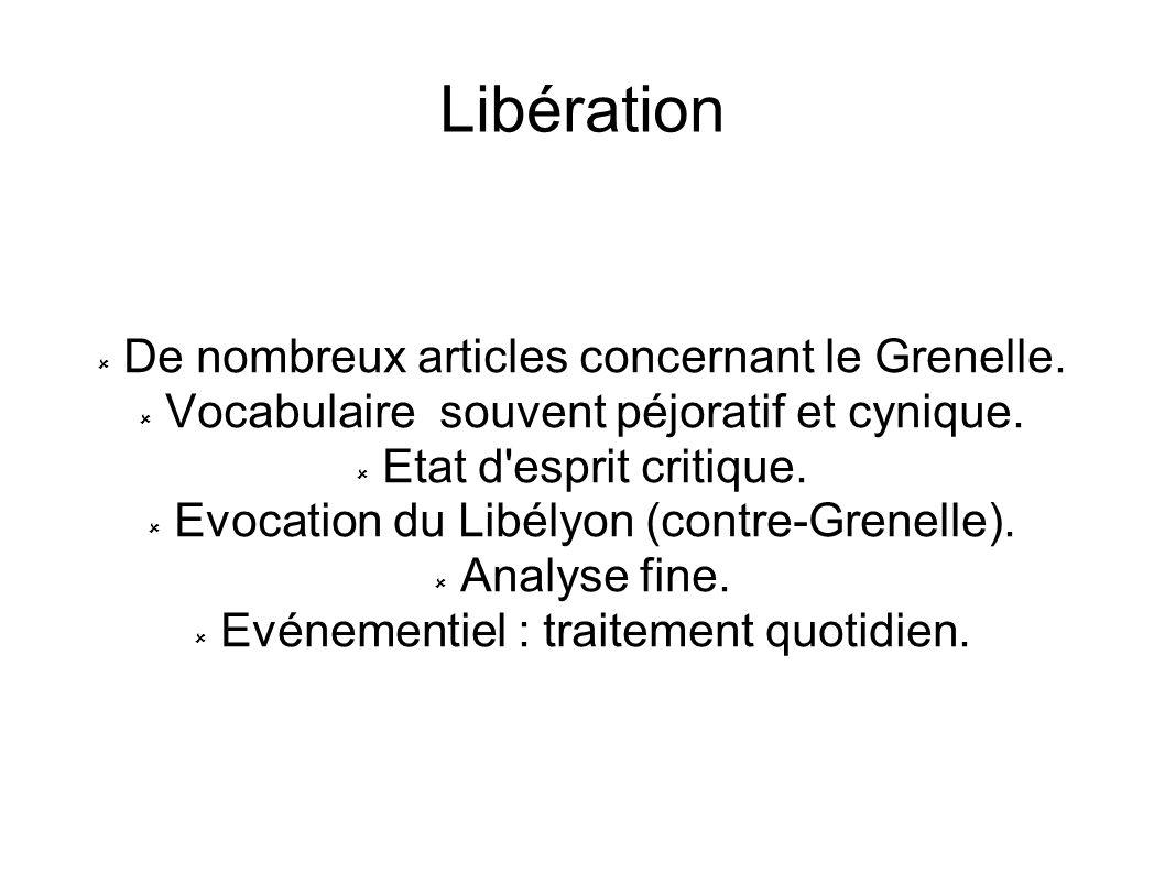 Libération De nombreux articles concernant le Grenelle.