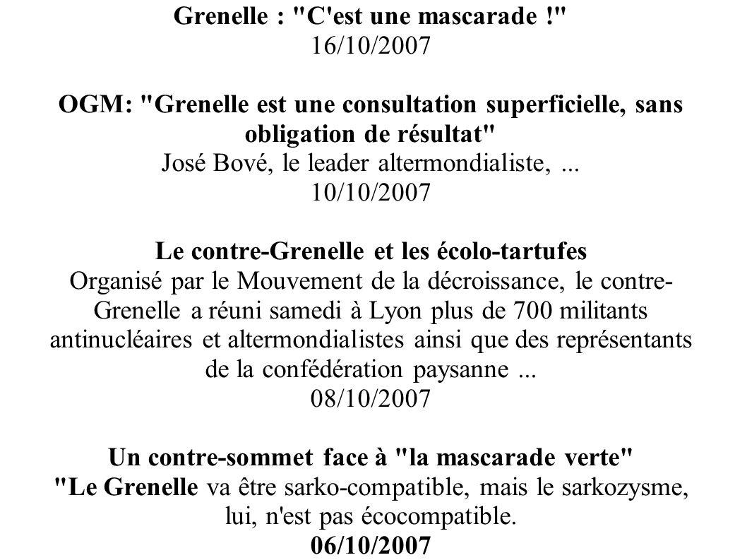 Grenelle : C est une mascarade ! 16/10/2007