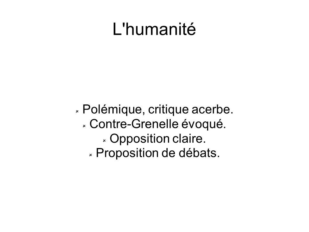 L humanité Polémique, critique acerbe. Contre-Grenelle évoqué.