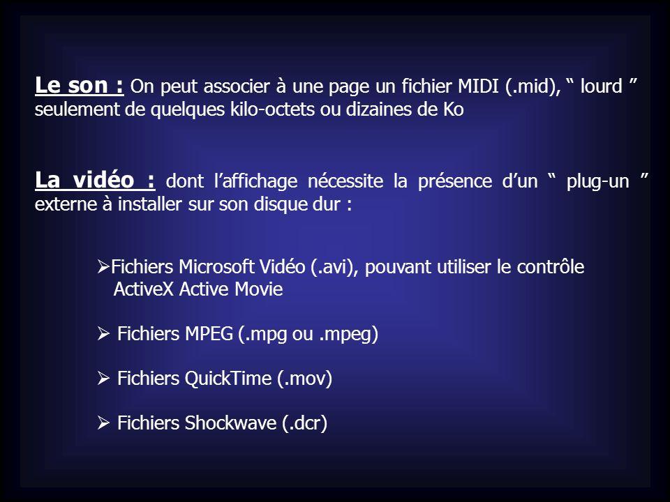 Le son : On peut associer à une page un fichier MIDI (