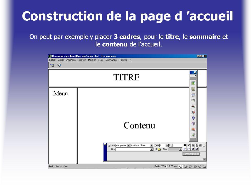 Construction de la page d 'accueil