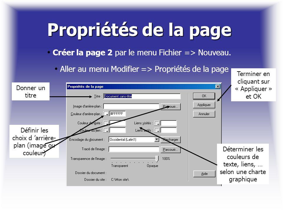 Propriétés de la page Créer la page 2 par le menu Fichier => Nouveau. Aller au menu Modifier => Propriétés de la page.