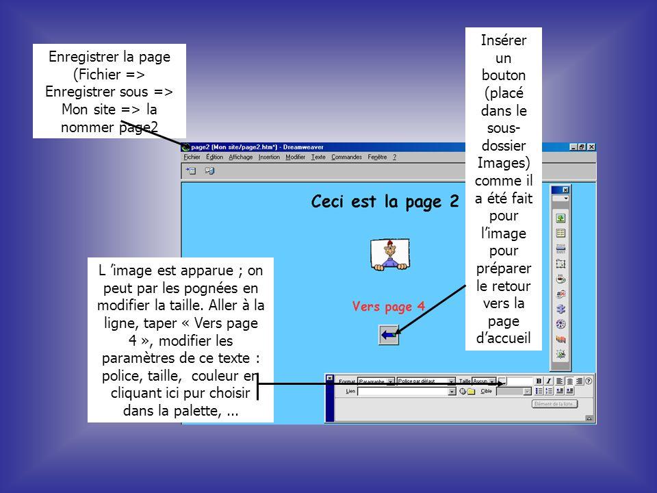 Insérer un bouton (placé dans le sous-dossier Images) comme il a été fait pour l'image pour préparer le retour vers la page d'accueil