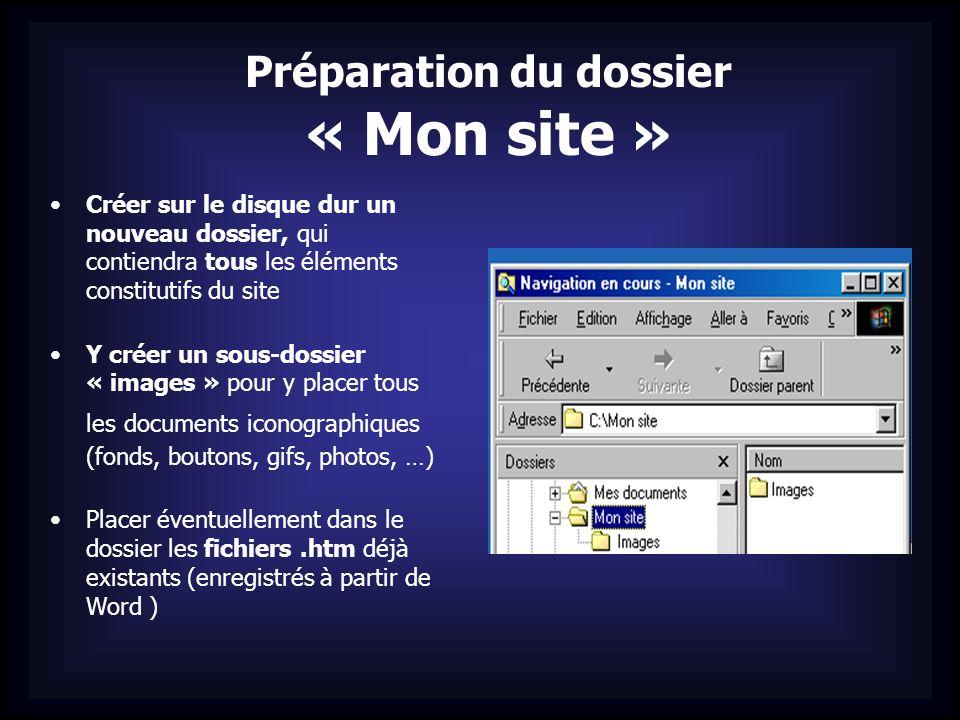 Préparation du dossier « Mon site »