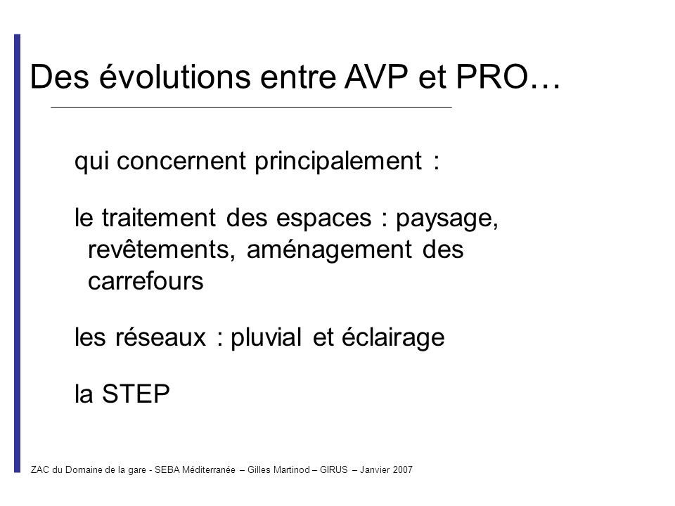 Des évolutions entre AVP et PRO…