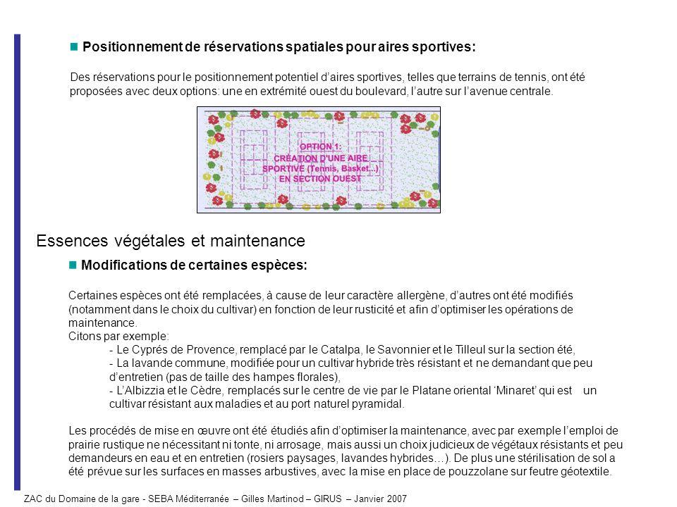 Essences végétales et maintenance