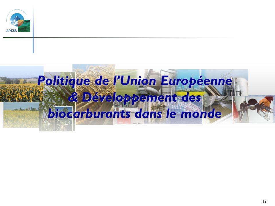 Politique de l'Union Européenne & Développement des biocarburants dans le monde