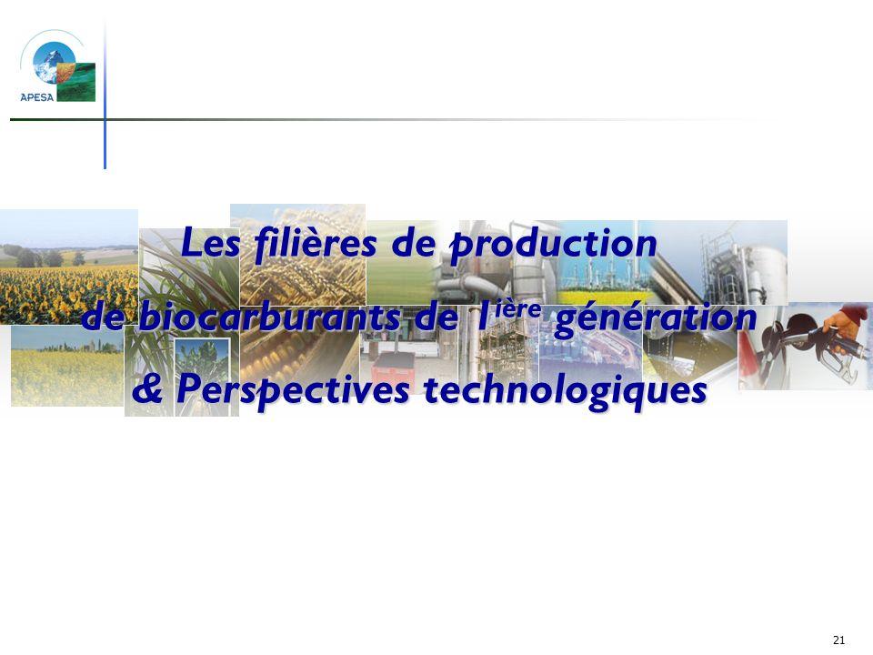 Les filières de production de biocarburants de 1ière génération