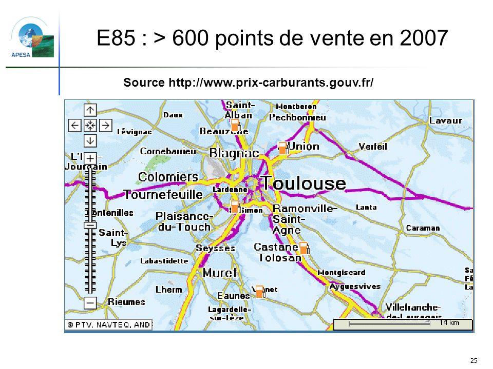 E85 : > 600 points de vente en 2007
