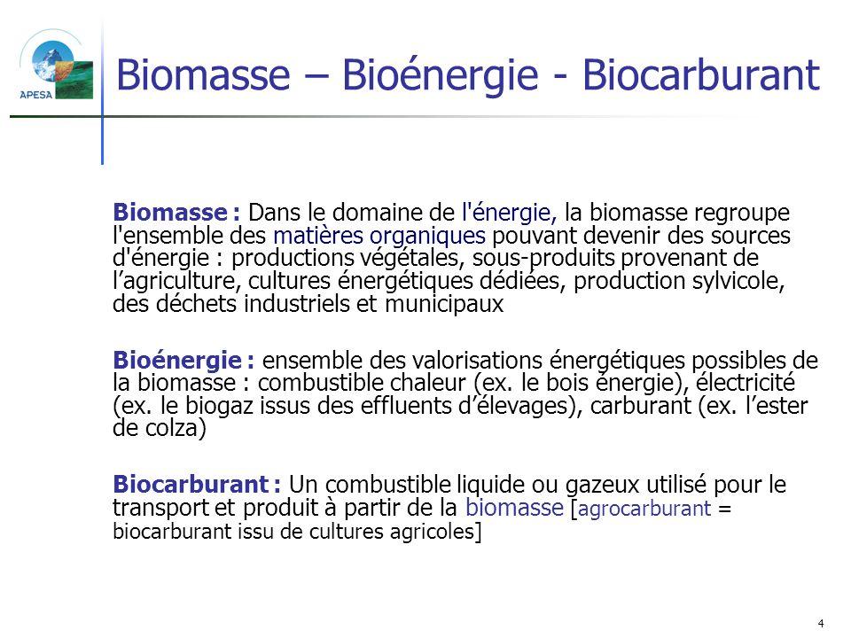 Biomasse – Bioénergie - Biocarburant