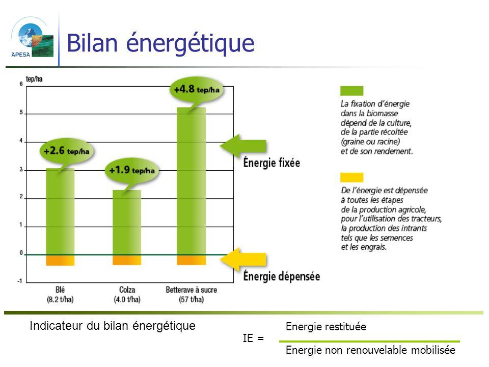 Bilan énergétique Indicateur du bilan énergétique Energie restituée