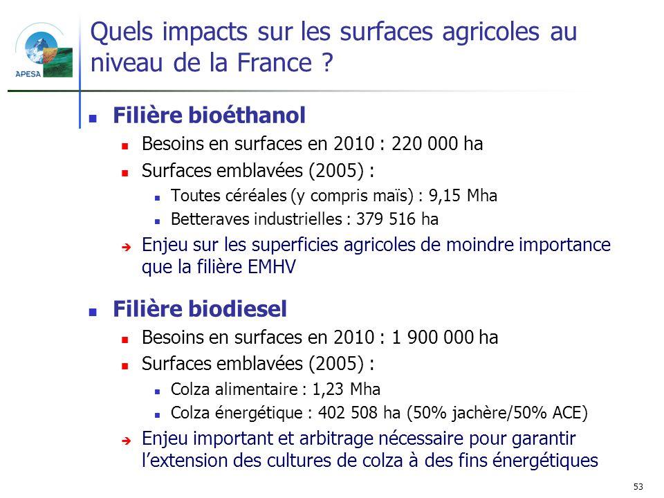 Quels impacts sur les surfaces agricoles au niveau de la France